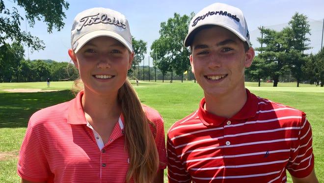 Tennessean/Metro Parks Schooldays Golf Tournament girls champion Ashley Gilliam and boys champion Patton Samuels at McCabe Course