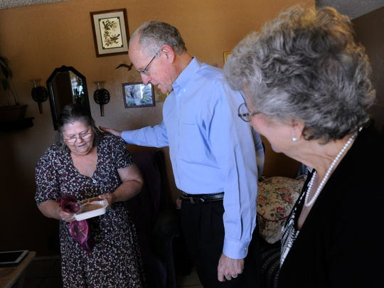 U.S. Representative Mike Conaway speaks with Diana Bryan after delivering a Meals on Wheels lunch Wednesday Feb. 22, 2017 in Ballinger. Betty Bradley, the executive director of Meals on Wheels Plus, Inc. in Abilene, stands to the right. The Abilene organization took over the Runnels County meals program last year after the county cut it from their annual budget.