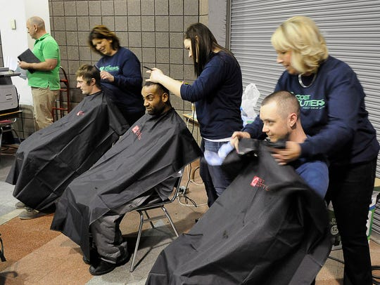 The chairs were continuously full for free haircuts