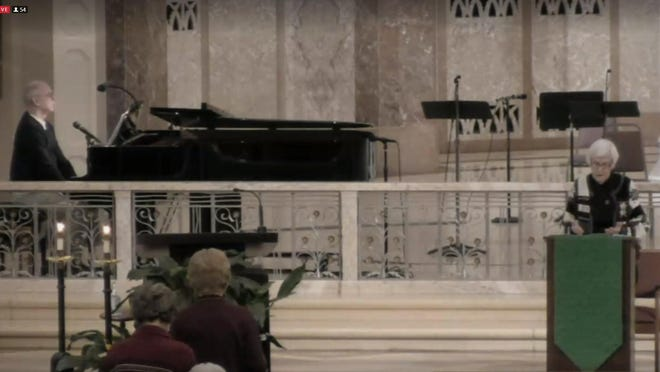 The Gospel reading, seen in this view from the livestream service, was of the Good Samaritan.