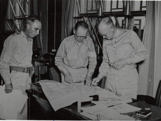 Dwight D. Eisenhower (right), who became the country's 34th president, is shown in Alexandria during the early 1940s, when he helped lead the Louisiana Maneuvers prior to World War II. Eisenhower was among military leaders who stayed at the Hotel Bentley. Others who stayed there included Gens. George Patton and Omar Bradley.