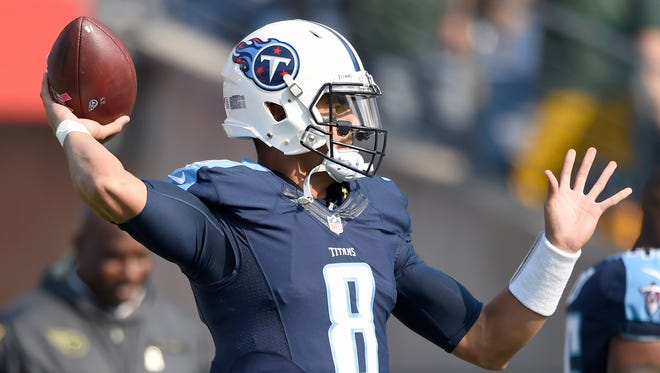 Titans quarterback Marcus Mariota (8) warms  up before the start of the game against the Packers at Nissan Stadium Sunday, Nov. 13, 2016, in Nashville, Tenn.