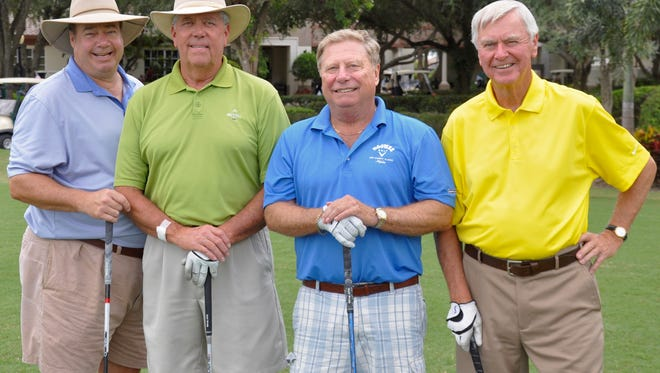 Dan Spreng (in blue) plays golf every week with buddies Pat Megan, Jerry Baum and Jack MacDonald at Palmira Golf Course. Laura Gates/Banner Correspondent