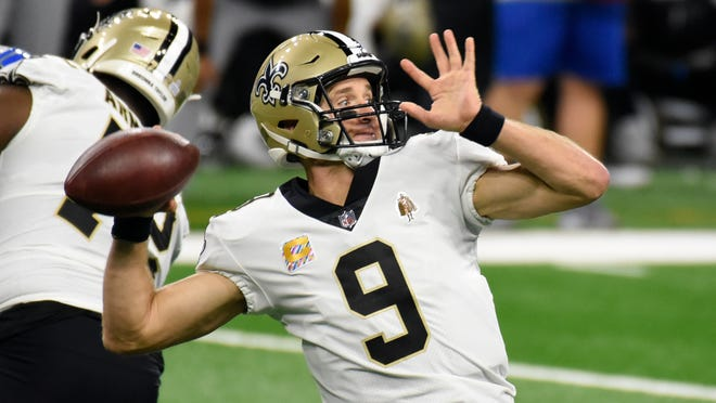 Saints quarterback Drew Brees throws during the first half of a game against the Lions during Week 4 this season.