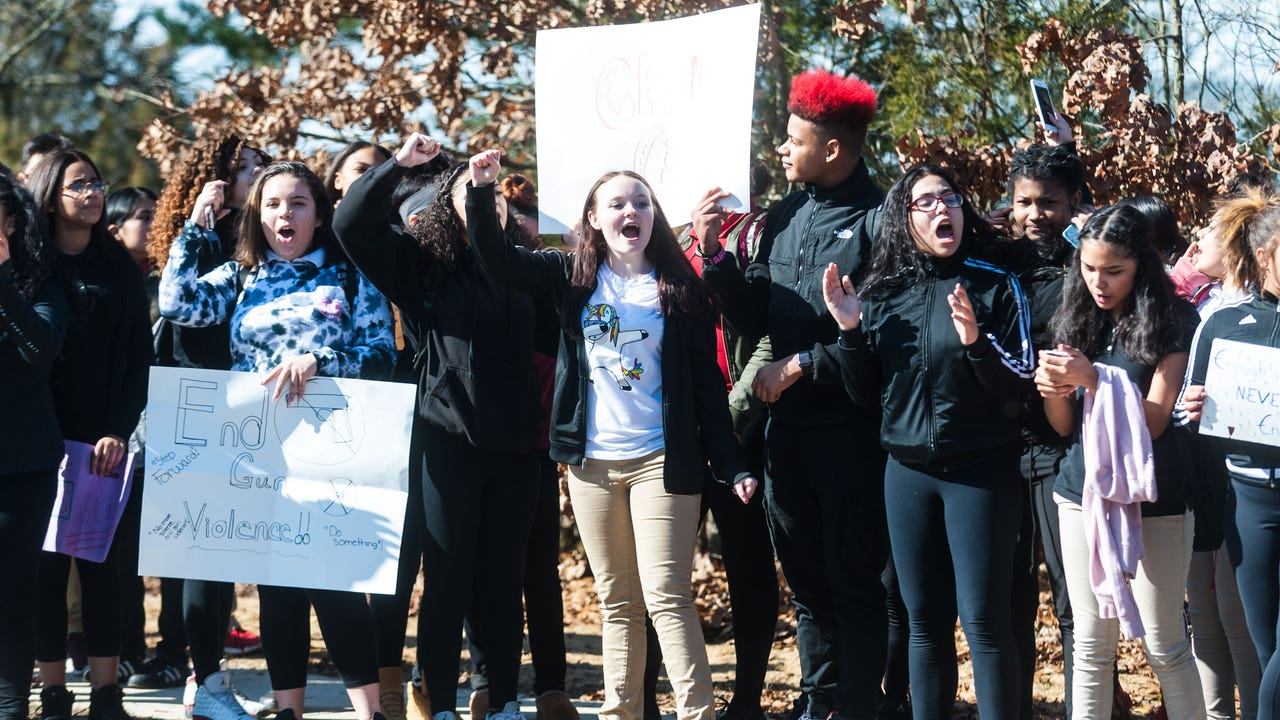 Wallace Middle School students took up their First Amendment rights with a walk out and protest against gun violence following the events in Parkland, Florida.