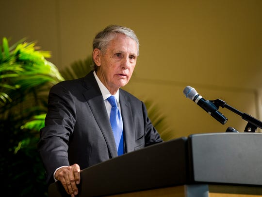 Harry Fath, a philanthropist, addresses the crowd at a private event to announce the $150 million capital campaign and new master plan to transform and improve both animal habitats and the visitor experiences Thursday, June 7, 2018 in Avondale. Zoo Harry and Linda Fath gave $50 million gift to the campaign. It is the largest gift in zoo history.