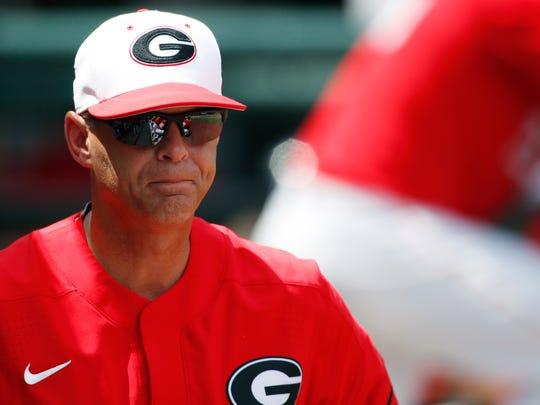 Georgia coach Scott Stricklin looks on during an NCAA championship regional college baseball game against Campbell in Athens, Ga., Saturday, June 2, 2018. Georgia won 18-5. (Joshua L. Jones/Athens Banner-Herald via AP)