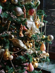 Detail from a Christmas tree in the dining room at Lyndhurst in Tarrytown.