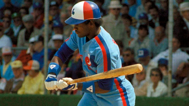 FILE - This is a 1983 file photo showing Tim Raines of the Montreal Expos checking his swing. Raines could be elected into the Baseball Hall of Fame when voting is announced Wednesday, Jan. 6, 2016. (AP Photo/File) ORG XMIT: NY161