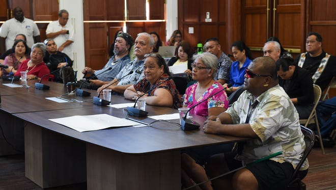 Riders of the Guam Regional Transit Authority take turns voicing their concerns on the quality, safety, and expenses of their GRTA experiences during an oversight hearing at the Guam Congress Building on Nov. 8, 2017.