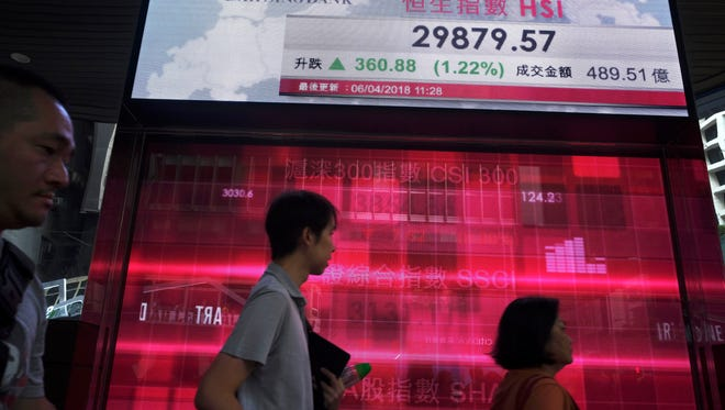 People walk past an electronic board showing Hong Kong share index outside a local bank in Hong Kong, Friday, April 6, 2018.