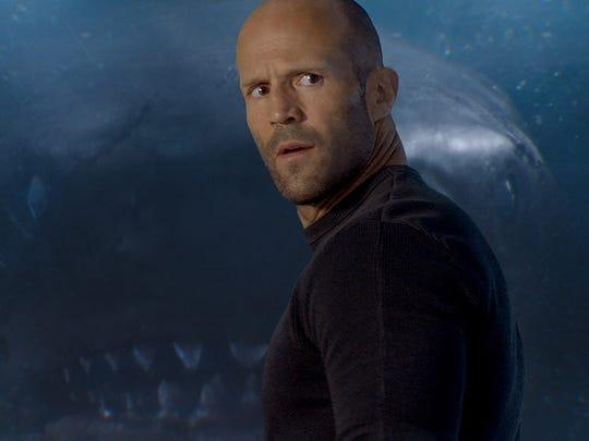 """Jason Statham battles a giant shark in """"The Meg."""""""
