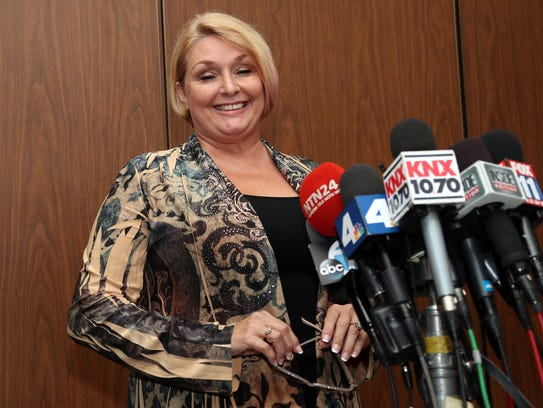Samantha Geimer after appearing in court to support