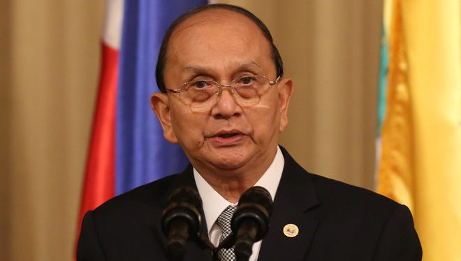 Burmese President Thein Sein delivers his speech to the press during his visit at the Malacanang Presidential Palace in Manila, Philippines, on Dec. 5, 2013.