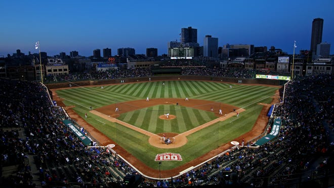 A general view during the third inning of a game between the Chicago Cubs and Arizona Diamondbacks at Wrigley Field.