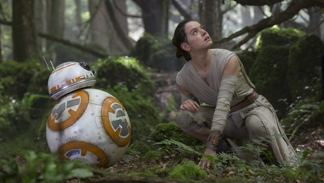 BB-8 and Rey (Daisy Ridley) in 'Star Wars: The Force Awakens'
