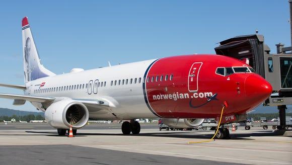 A Norwegian Air Boeing 737 at Oslo Gardermoen Airport