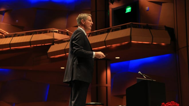 Former Gilbert Mayor and East Valley Partnership President John Lewis speaks during a realty event for PHX East Valley.