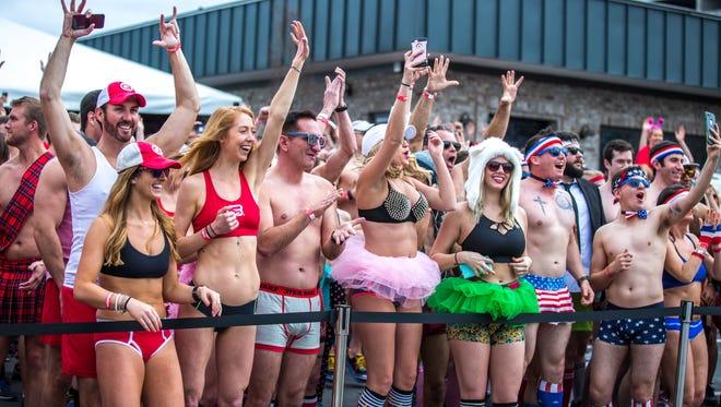 Runners prepare for the Cupid's Undie Run in Atlanta in 2017.