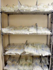 IV bags at Willis-Knighton Medical Center in Shreveport. Hurricane Maria in September disrupted production of IV bags and fluid from a major supplier based in Puerto Rico, causing nationwide shortages.