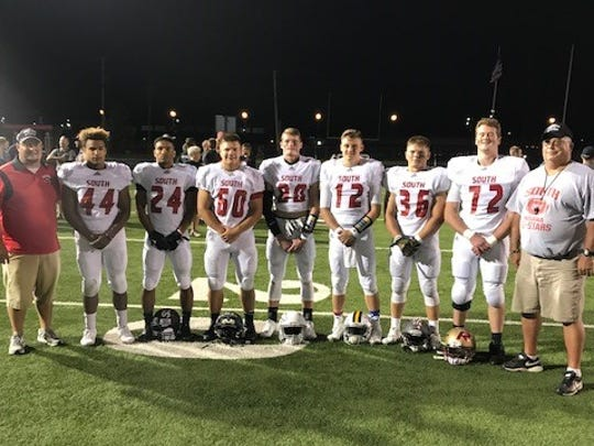 Members of the South team for the 2017 Indiana North-South All-Star Classic (L to R) Ross Fuhs (Forest Park), Sam Rowan (South Spencer), Cam Cartwright (Boonville), Jack Michel (Southridge), Noah McLean (Castle), Dayne Keller (Castle), Cam Maier (Mount Vernon), Jarred Kinnaman (Mater Dei), Jimmy Williams (Boonville).