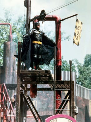 1992: Batman is poised for a rescue during the Batman Stunt Spectacular at Great Adventure.