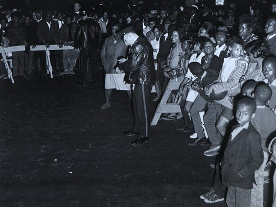 Those who could not get into the crowded church in Paterson, on March 27, 1968, gathered outside.
