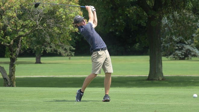 Trenton graduate Brent Trela hits a drive at the 18th hole during the 41st annual La-Z-Boy Junior Open on July 17, 2019 at Green Meadows.