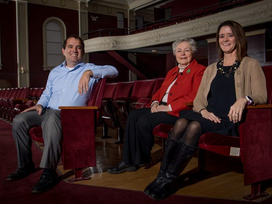 Holy Trinity Parish School Principal Jack Richards, left, Clifton Center executive director Cindy Adelberg, center, and Paula Watkins, right, who will lead the new Holy Trinity school at the Clifton Center, are photographed in the Eifler Theater at the Clifton Center in Louisville,  Dec.15, 2017