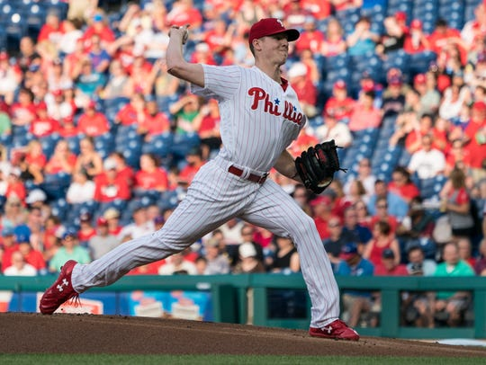 Philadelphia Phillies pitcher Nick Pivetta (43) delivers