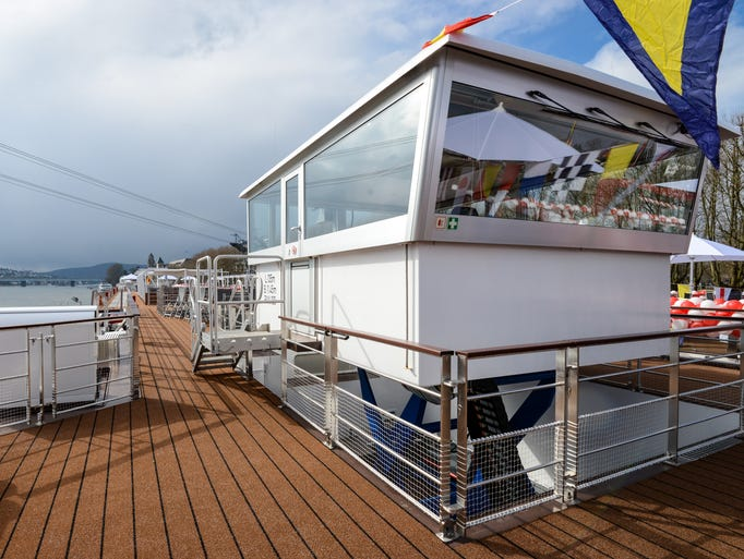 The wheelhouse and railings on Viking Herja's sun deck