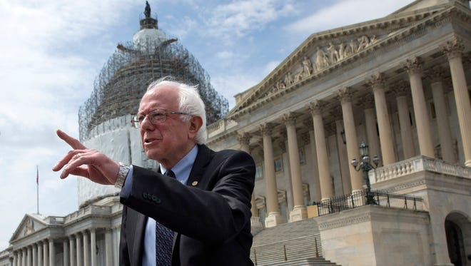 Sen. Bernie Sanders, I-Vt., speaks to the media at the U.S. Capitol about his agenda in running for president on April 30, 2015.