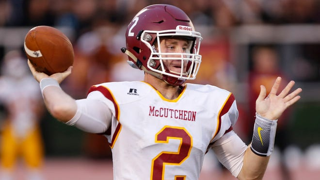 McCutcheon quarterback Peyton Williams was injured in last year's sectional loss to Westfield. He hopes to make amends this postseason.