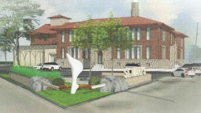 The historic St. Mary's Catholic School, in Port Washington, would be converted into apartments under a conceptual plan.
