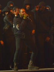 Kanye West performs at BRIT Awards in London Feb. 25.