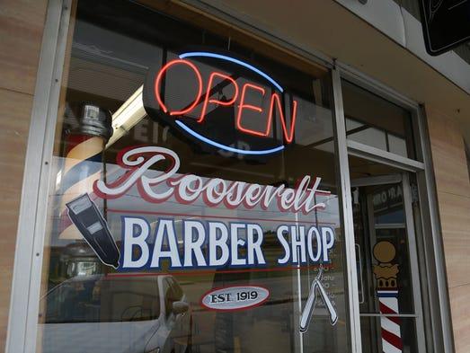 ... , Sept. 11, 2014, at the Roosevelt Barber Shop in Des Moines, Iowa