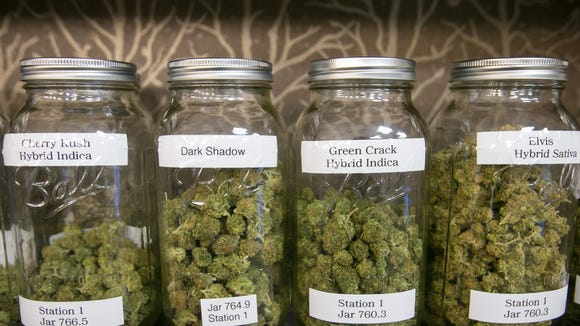 Medical marijuana on a dispensary shelf.