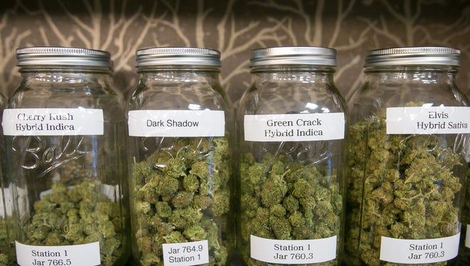 Medical marijuana on a dispensary shelf.