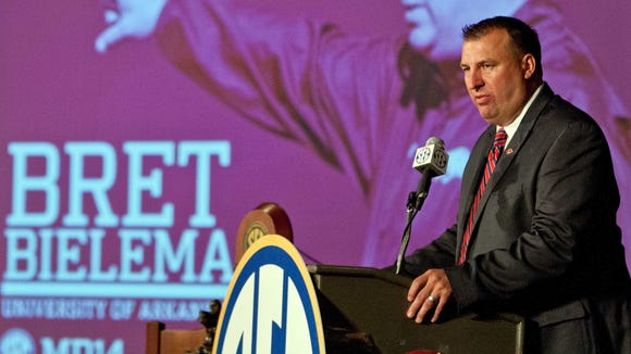Arkansas coach Bret Bielema traded barbs with Missouri's Gary Pinkel on Wednesday.