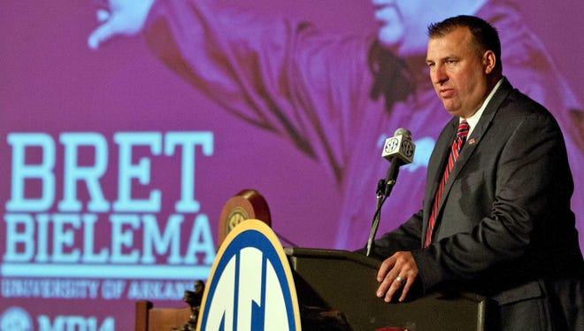 Arkansas coach Bret Bielema traded barbs with Missouri's Gary Pinkel on Wednesday.