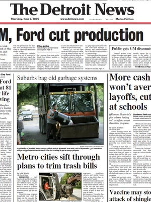 View the front page of The Detroit News each day of the week of May 30, 2005