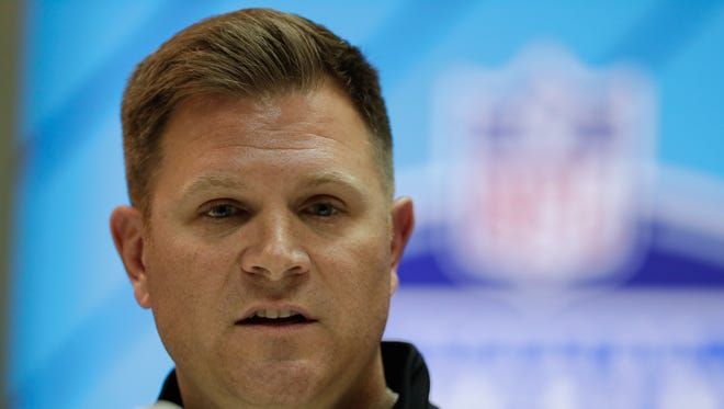 Green Bay Packers general manager Brian Gutekunst speaks during a news conference at the NFL scouting combine in Indianapolis on Feb. 28, 2018.