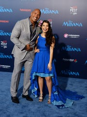 Dwayne Johnson (left) and Auli'i Cravalho at the Hollywood