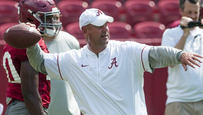 Alabama defensive coordinator Jeremy Pruitt as practice is held on fan day at Bryant-Denny Stadium in Tuscaloosa, Ala., on Sunday August 7, 2016.