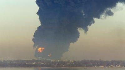 A barge fire at Port Mobil on the Arthur Kill between Woodbridge and State Island on Feb. 21, 2003. The flames were about two to three times taller than Outerbridge Crossing right in front of the fire