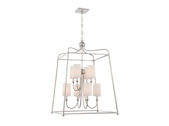 Crystorama Sylvan entrance/foyer pendant in polished nickel, $1,050.53 at shop.ferguson.com. (Gannett/File)