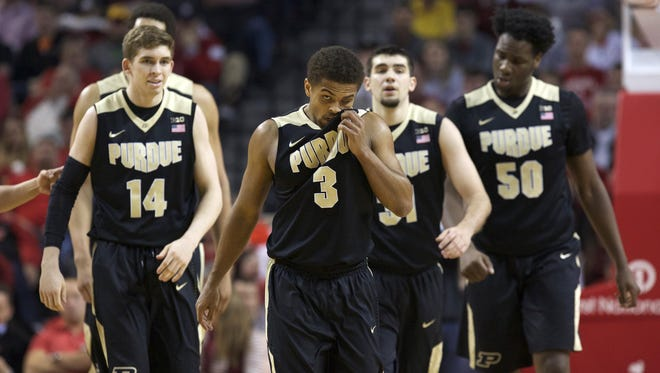 Purdue Boilermakers guard P.J. Thompson (3) wipes his face during the game against the Nebraska Cornhuskers in the second half at Pinnacle Bank Arena. Purdue won 81-62.