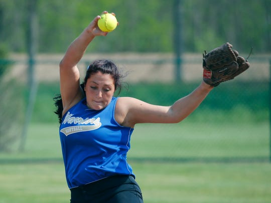 Webster Schroeder's Adrianna Dilal pitches against Webster Thomas in the second inning at the College at Brockport.