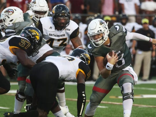 Southern Miss defenders LaDarius Harris (43) and Sherrod Ruff (37) are among the seasoned veterans who will be back in 2018.