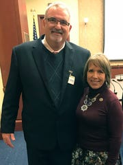 Superintendent Greg Ewing met with then U.S. Rep. Michelle Lujan Grisham in 2017. When she became governor of New Mexico in 2019, Ewing was interviewed as a candidate to be her Public Education Secretary.